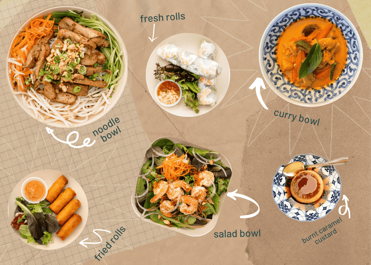 Collage of our dishes - noodle bowl, fresh rolls, curry bowl, fried rolls, salad bowl and burnt caramel custard