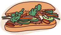 sketch of banh mi sandwich